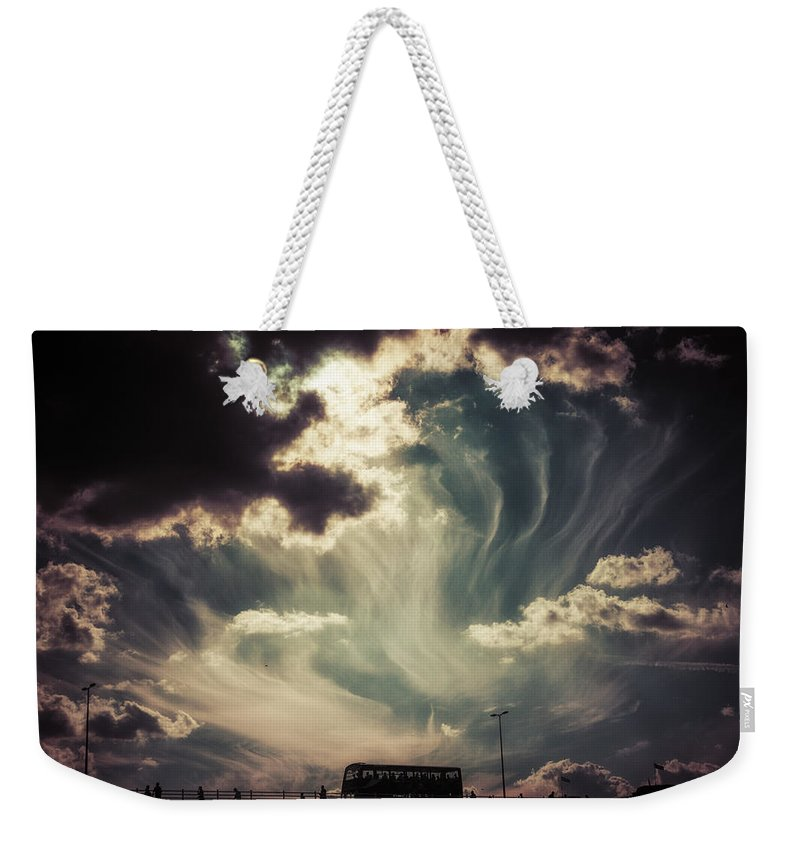 Sky Wisps over a Double Decker - Weekender Tote Bag