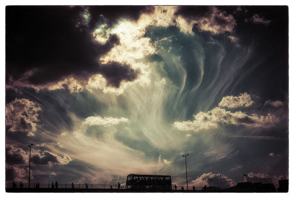 Sky Wisps over a Double Decker - Art Print