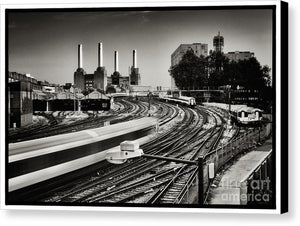 The Train and Battersea Power Station - Canvas Print