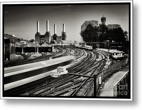 The Train and Battersea Power Station - Metal Print