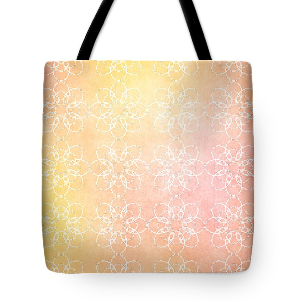 White Flowers with Warm Orange background - Tote Bag