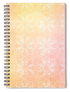 White Flowers with Warm Orange background - Spiral Notebook