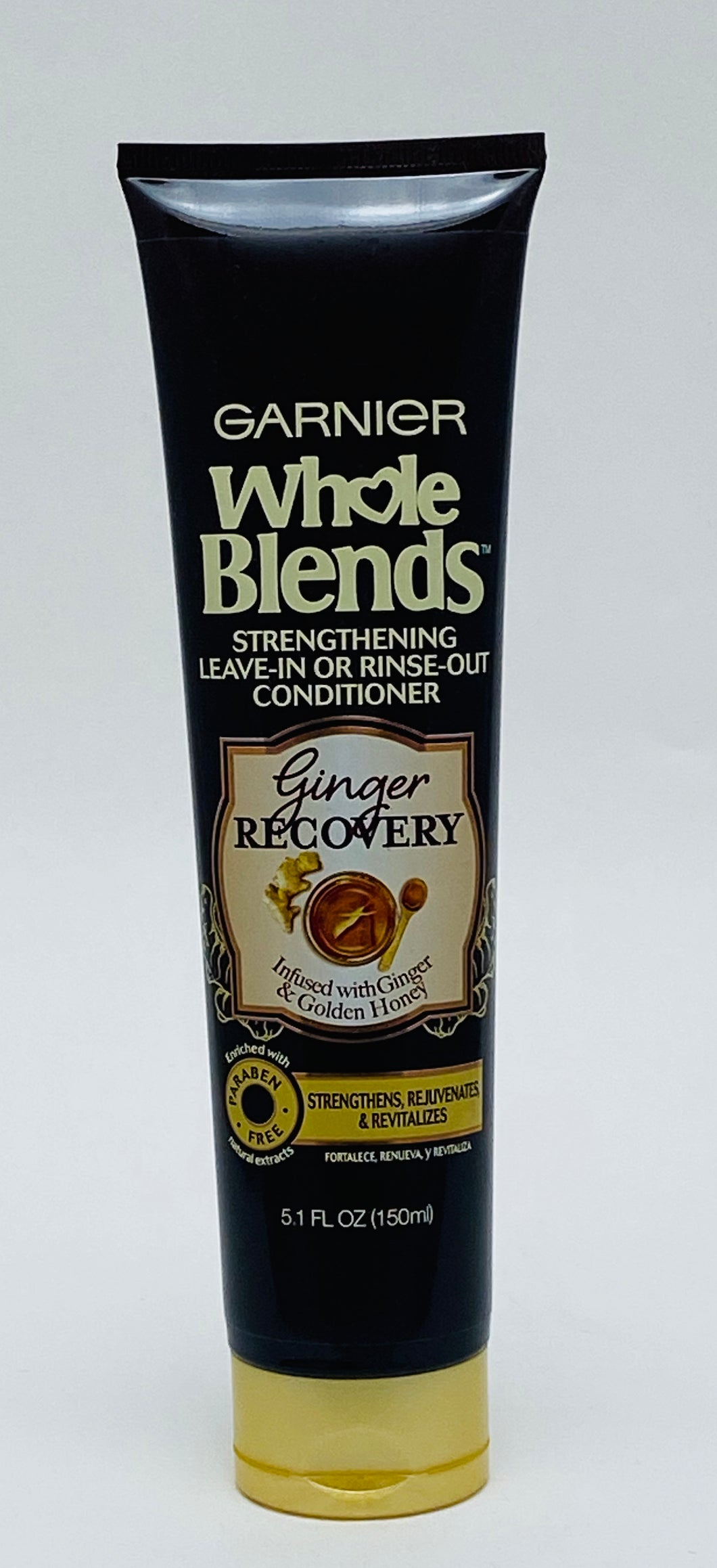 Garnier Whole Blends Strengthening Leave-in or Rinse-Out Conditioner Ginger Recovery Infused with Ginger and Golden Honey - 5.1 FL OZ (150ml)