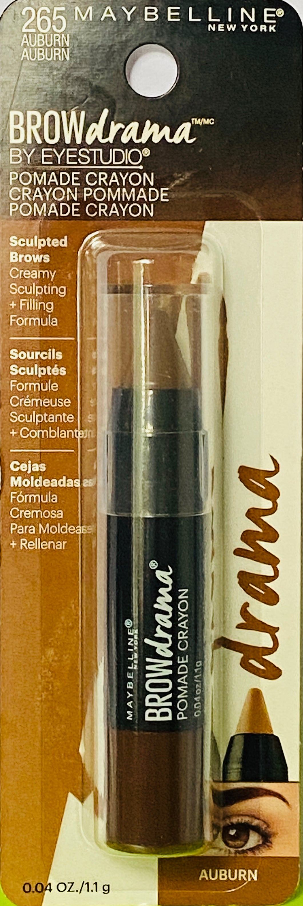 Wholesale Maybelline Brow Drama By EyeStudio - Pomade Crayon - 265 Auburn - 0.04 OZ. / 1.1g - 48 Pieces Lot