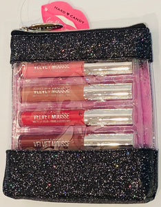 Wholesale - Hard Candy - Give me Lip Velvet Mousse - Four Pieces Collection Lip Gloss + One Cosmetics Bag - Net WT Net WT. 0.09 OZ. / 2.5 g Each - 20 Pieces Lot