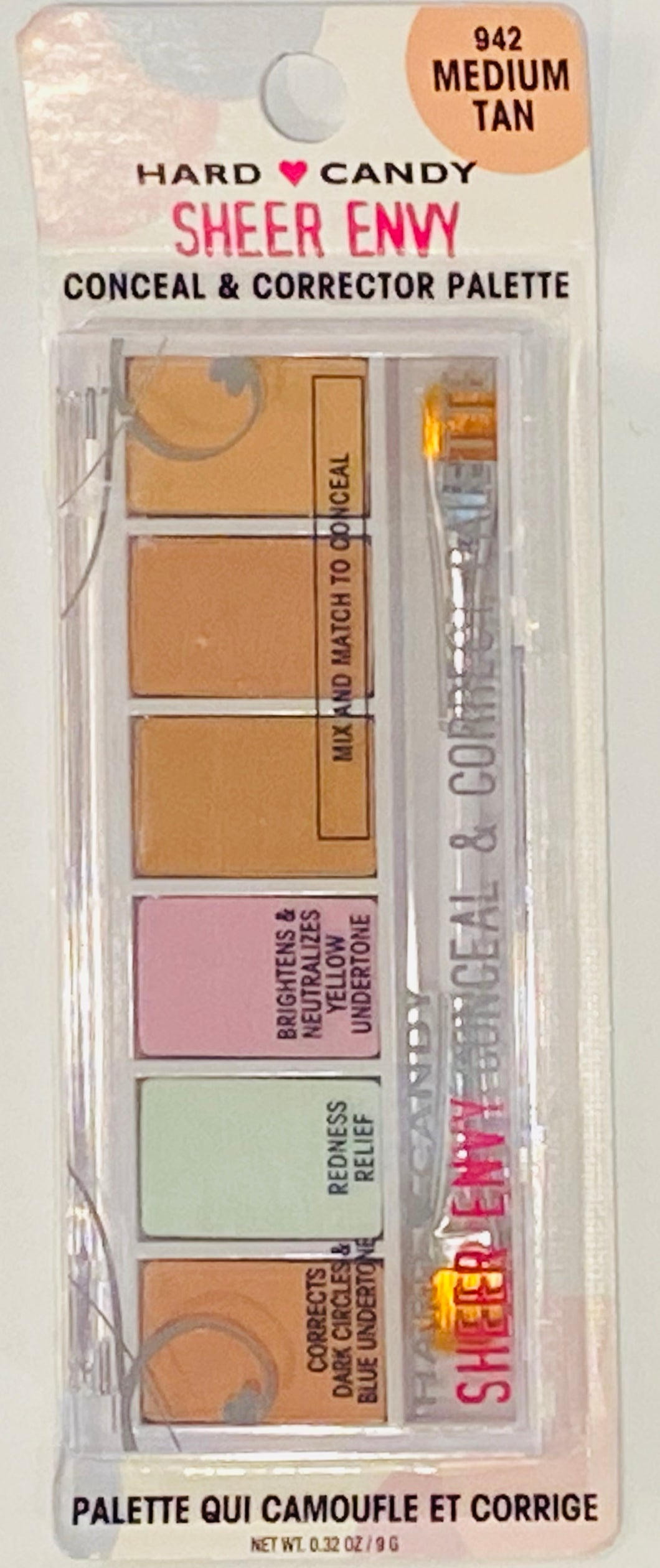 Wholesale - Hard Candy - Sheer Envy Conceal & Corrector  Palette - 942 Medium Tan - 0.32 Oz. / 9 G - 48 Pieces