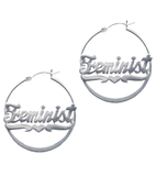 FEMINIST SILVER HOOP EARRINGS