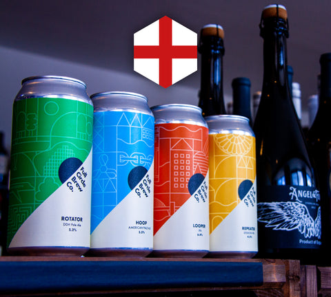 England 3 Lions Mixed Pack from The Pip Stop, featuring Full Circle Brew Co's Core Range and Whispering Angel.