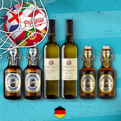 The Germany Mixed Pack from The Pip Stop, a wine merchant based in Hoults Yard of Newcastle. Consisting of Anselmann White Wine & Flensburger Beer.