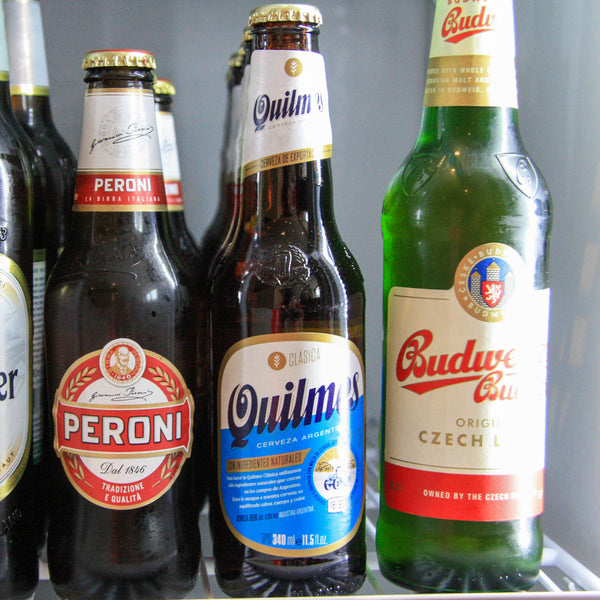 Quilmes alongside other lagers in The Pip Stop beer fridge