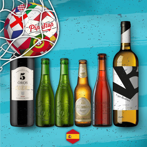 Spanish Mixed Pack, featuring beers from Alhambra, alongside a Red and White Wine. Sold by The Pip Stop, online wine merchant.