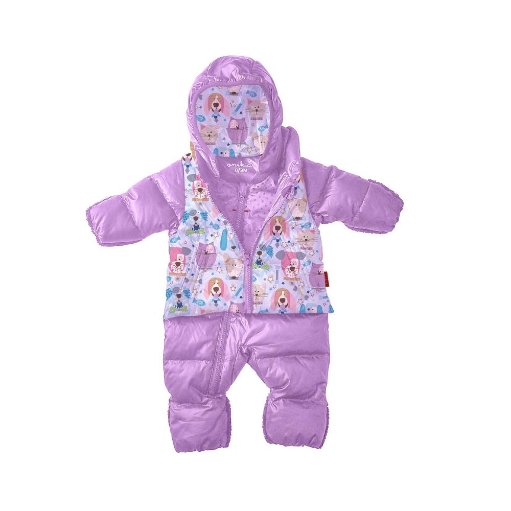 Car Seat Safety Infant Road Coat® Snow Suit - Lilac / Puppy Print