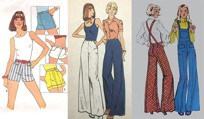 Simplicity 6946 One Yard Shorts Butterick 3752 Trousers Simplicity 5890 Bib Overalls 1970s Sewing Patterns