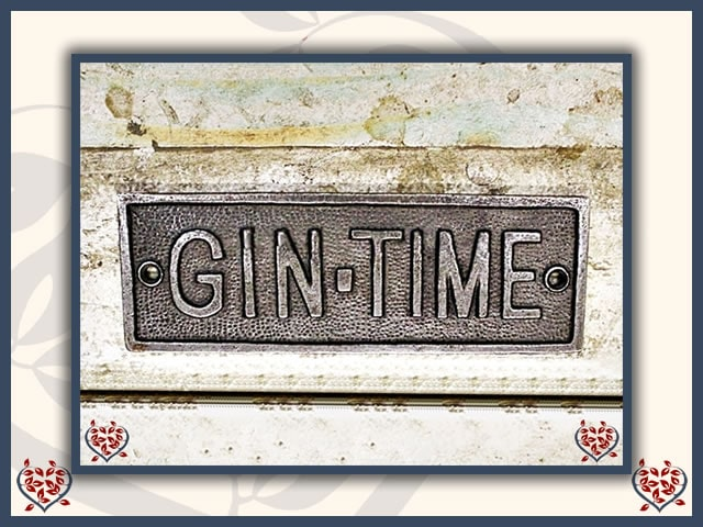 CAST ANTIQUE IRON PLAQUE ~ GIN TIME | Wall Art - Paul Martyn Interiors