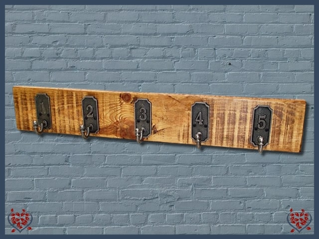 1-5 METAL COAT HOOKS ON RECLAIMED TIMBER BACKING | Hooks