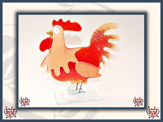 COCKEREL SMALL ~ RED | Nobile Glass Animal - Paul Martyn Interiors