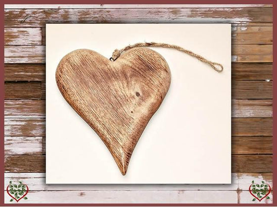 SOLID HANGING HEART | Wooden Home Accessories - Paul Martyn Interiors