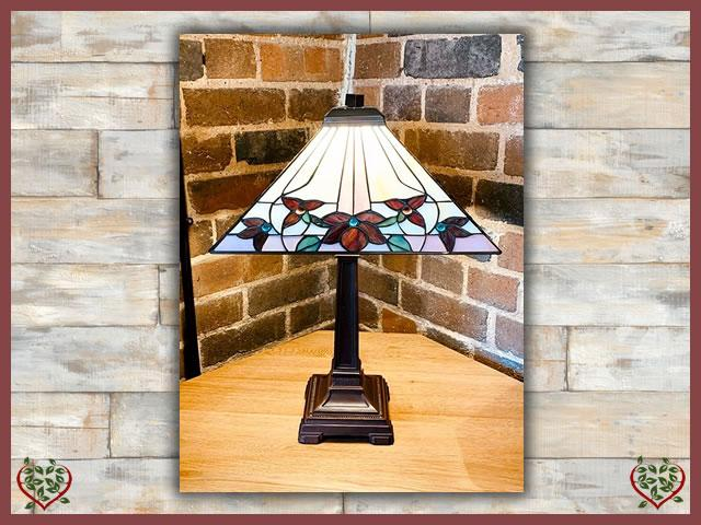 TIFFANY LAMP ~ RED FLOWER ~ 14"