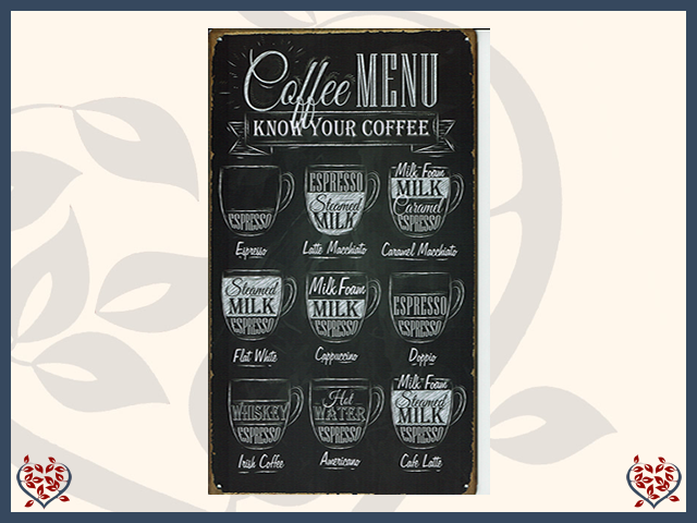 COFFEE MENU METAL SIGN | Wall Art