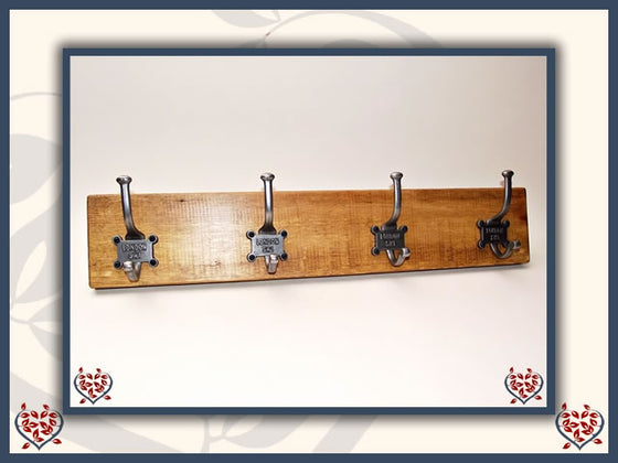 LONDON COAT HOOKS ON RECLAIMED TIMBER BACKING | Hooks