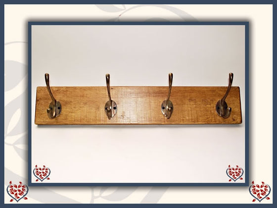 COPPER COAT HOOKS ON RECLAIMED TIMBER BACKING | Hooks