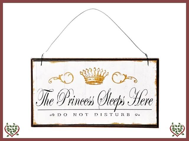 THE PRINCESS SLEEPS HERE ~ VINTAGE WOODEN SIGN | Wall Decor & Accessories - Paul Martyn Interiors