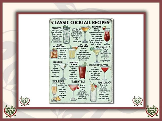 CLASSIC COCKTAIL RECIPES ~ METAL SIGN |  Wall Decor - Paul Martyn Interiors