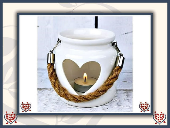 WHITE PORCELAIN HEART LANTERN WITH ROPE HANDLE | - Paul Martyn Interiors