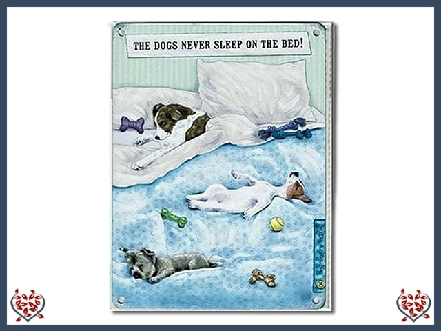 THE DOG NEVER SLEEPS ON THE BED ~ METAL SIGN | Wall Decor - Paul Martyn Interiors