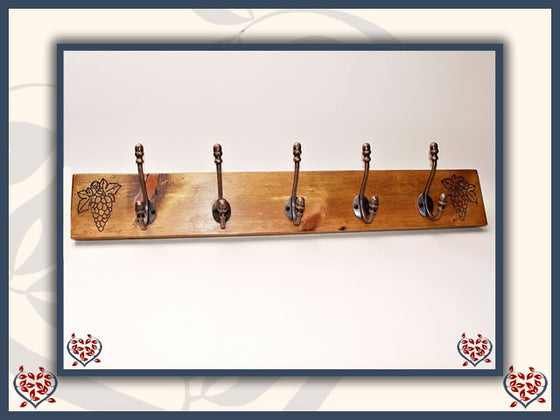 GRAPE COPPER COAT HOOKS ON RECLAIMED TIMBER BACKING | Hooks