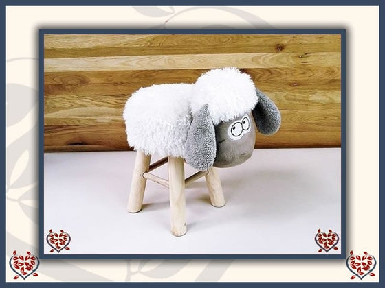 SHEEP FOOTSTOOL ~ LIGHT FACE | Childrens Furniture - Paul Martyn Interiors