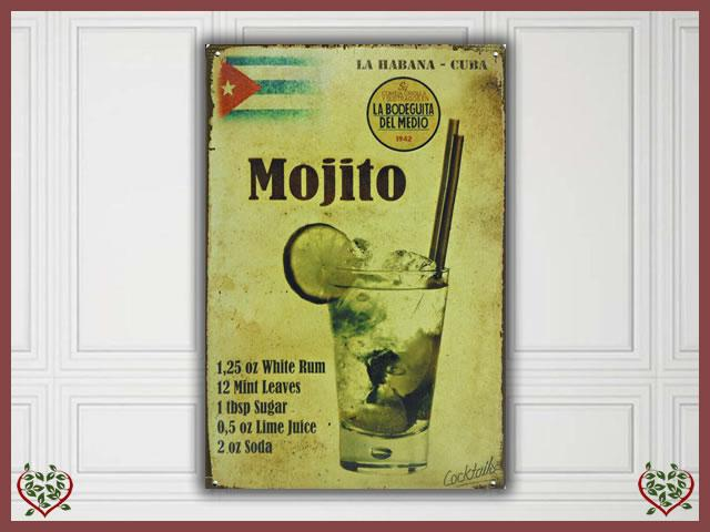 MOJITO ADVERTISING METAL SIGN | Wall Art - Paul Martyn Interiors