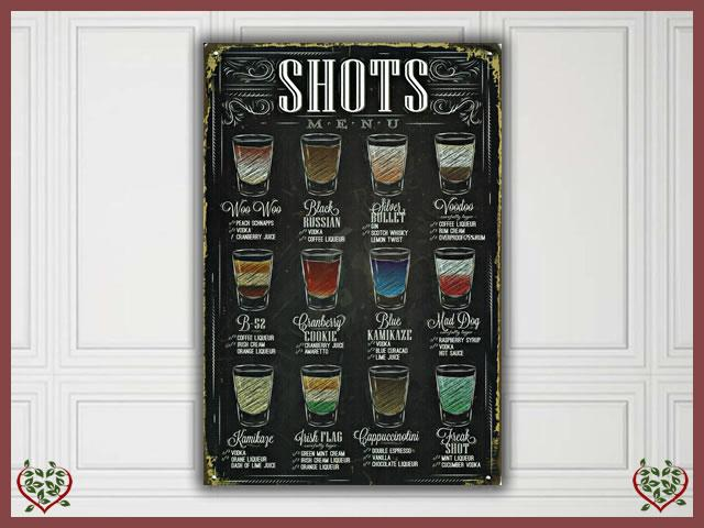 SHOTS MENU METAL SIGN |  Wall Art - Paul Martyn Interiors