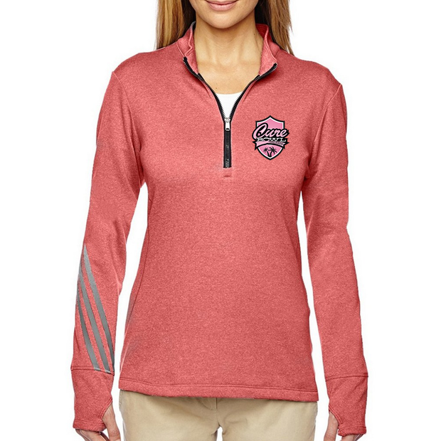 Adidas Ladies Brushed Terry Heathered Quarter-Zip