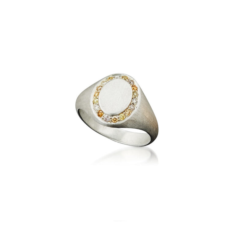 Saturn Silver Signet Ring