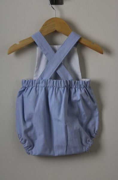 LR0015 Solid Baby Blue Heirloom Bubble Romper