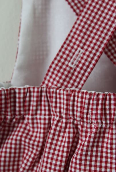 LR0015 Red and White Micro Checked Heirloom Bubble Romper (6-9 mo.)