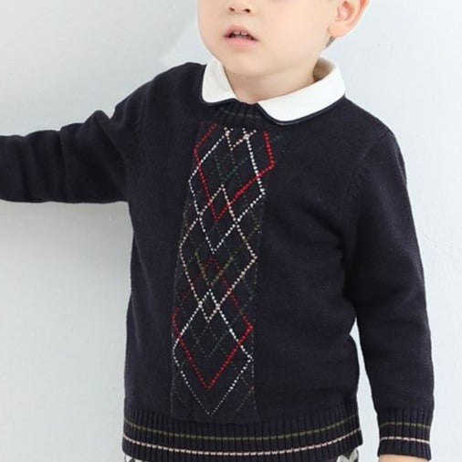 Classy Design Navy Boys Argyle Sweater