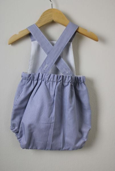 LR0015 Blue and White Striped Heirloom Bubble Romper (9-12 mo.)