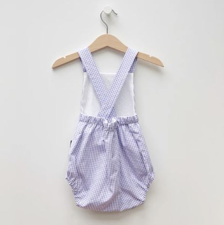 LR0015 Lilac and White Micro Checked Heirloom Bubble Romper (12-18 mo.)