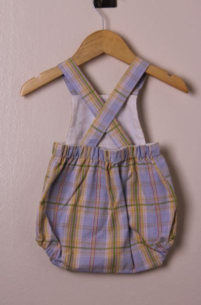 LR0015 Fresh Summer Plaid Heirloom Bubble Romper (3-6 mo.)