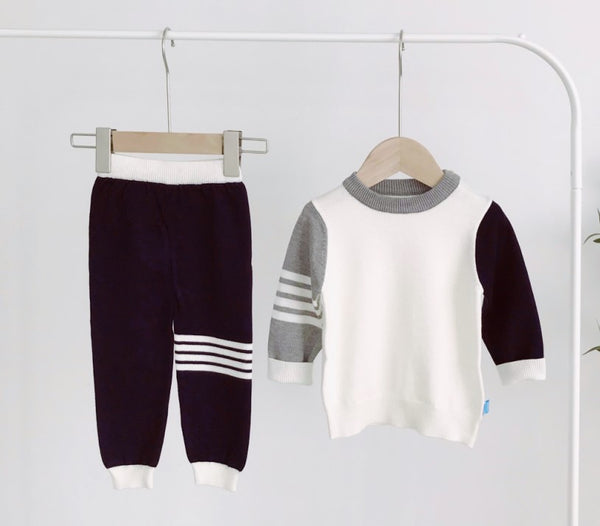 LR0018 Striped Block Colors Sweater Set