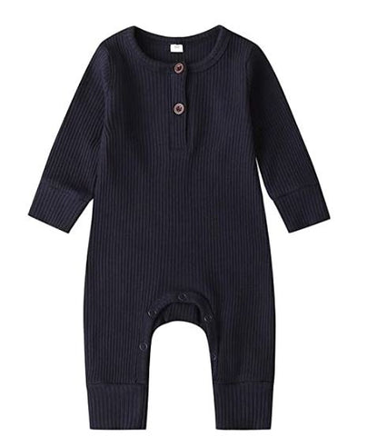 LR0028D Solid Ribbed Baby Romper Navy