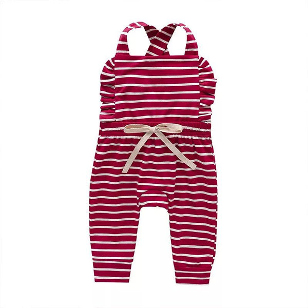 LR0030C Cotton Knit Overalls with Waisted Bow Tie Red with White Stripes
