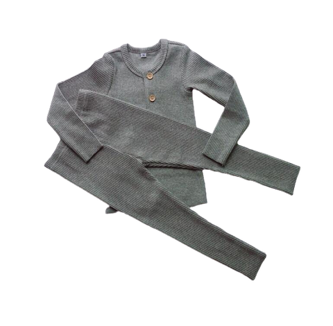 LR0027C Solid Ribbed Baby Pajamas Grey