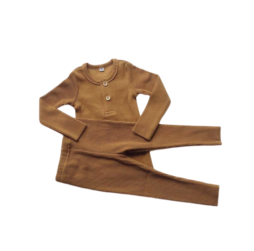 LR0027A Solid Ribbed Baby Pajamas Rust
