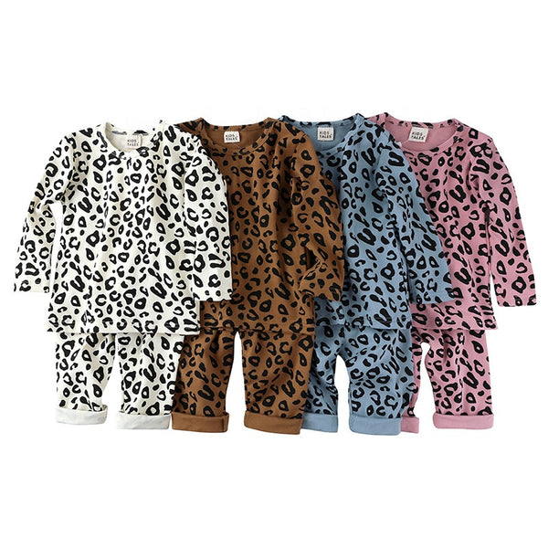 LR0025A Cotton Knit Leopard Print Kid's Pajamas Pink