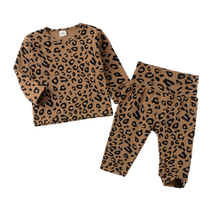 LR0025C Cotton Knit Leopard Print Kid's Pajamas Mocha