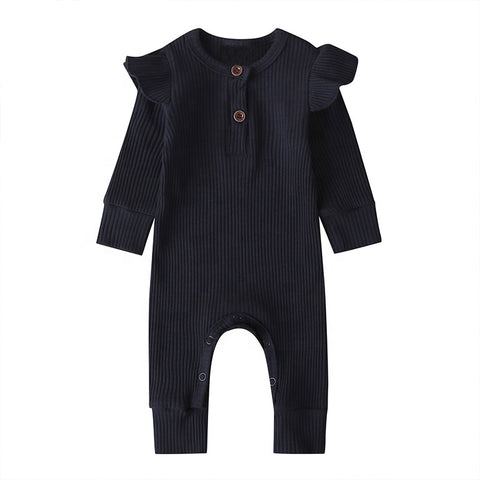 LR0029A Solid Ribbed Baby Ruffle Romper Navy