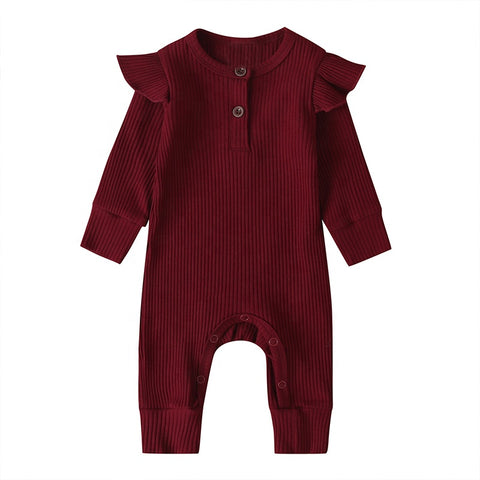 LR0029B Solid Ribbed Baby Ruffle Romper Burgundy